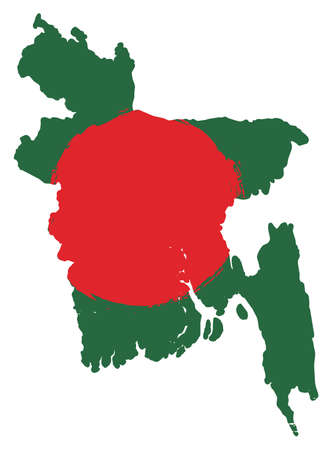 Bangladesh Flag & Map Vector Hand Painted with Rounded Brush Illustration