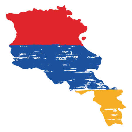 Armenia Flag & Map Vector Hand Painted with Rounded Brush