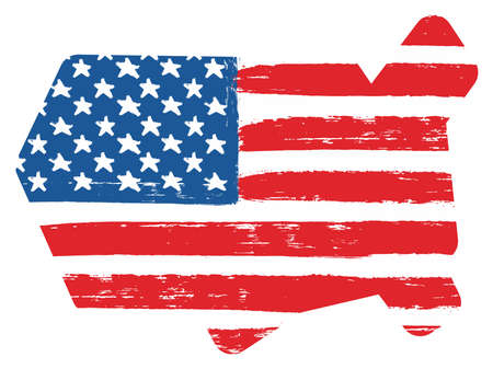 USA Flag & Map Vector Hand Painted with Rounded Brush