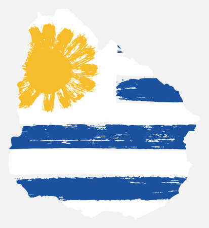 Uruguay Flag & Map Vector Hand Painted with Rounded Brush