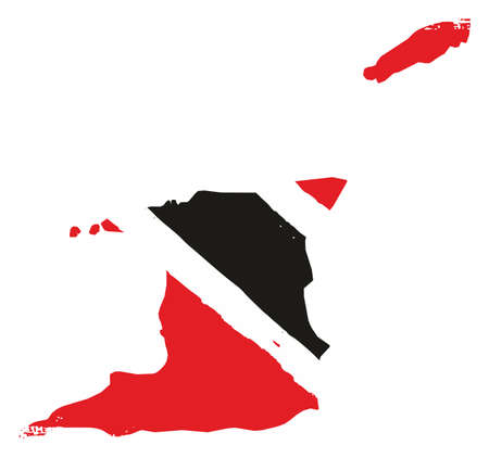 Trinidad and Tobago Flag & Map Vector Hand Painted with Rounded Brush