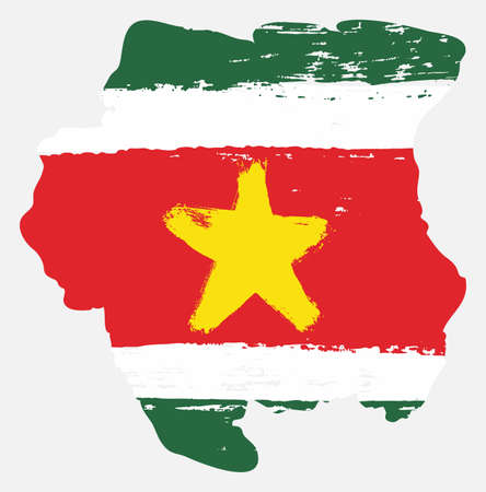 Suriname Flag & Map Vector Hand Painted with Rounded Brush Illustration