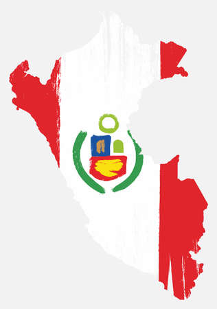 Peru Flag & Map Vector Hand Painted with Rounded Brush
