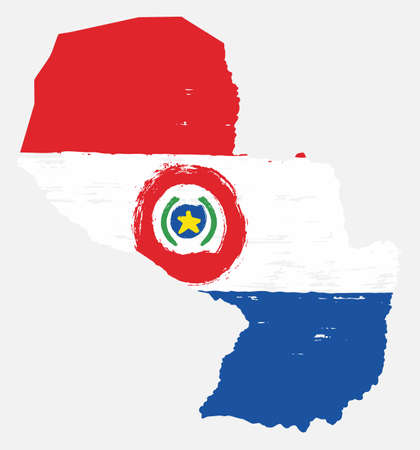 Paraguay Flag & Map Vector Hand Painted with Rounded Brush Illustration