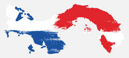 Panama Flag & Map Vector Hand Painted with Rounded Brush