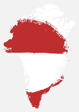 Greenland Flag & Map Vector Hand Painted with Rounded Brush
