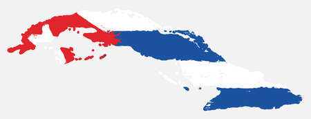 Cuba Flag & Map Vector Hand Painted with Rounded Brush