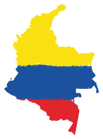 Colombia Flag & Map Vector Hand Painted with Rounded Brush Illustration