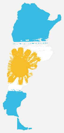 Argentina Flag & Map Vector Hand Painted with Rounded Brush