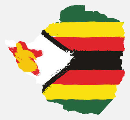 Zimbabwe Flag & Map Vector Hand Painted with Rounded Brush
