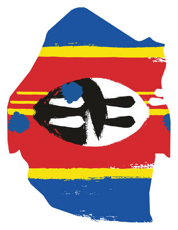 Swaziland Flag & Map Vector Hand Painted with Rounded Brush Illustration