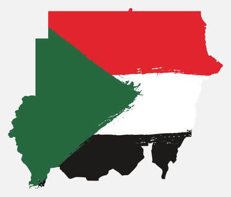 Sudan Flag & Map Vector Hand Painted with Rounded Brush