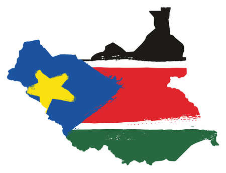 South Sudan Flag & Map Vector Hand Painted with Rounded Brush