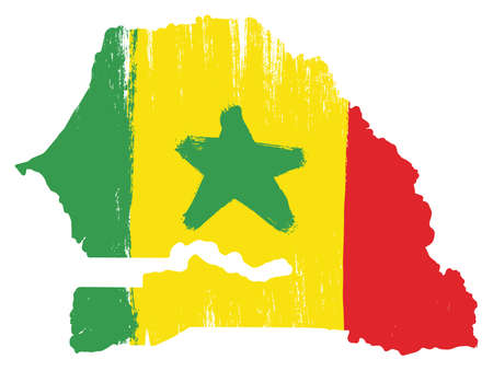 Senegal Flag & Map Vector Hand Painted with Rounded Brush Illustration