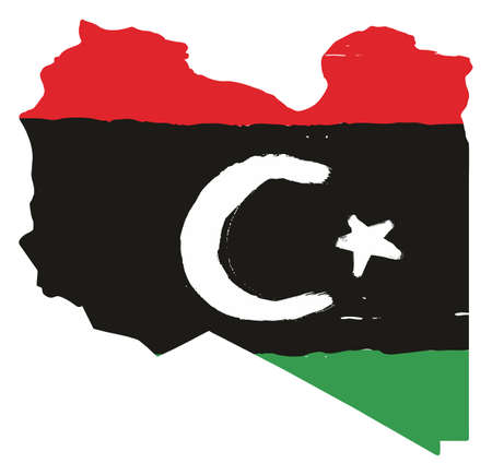 Libya Flag & Map Vector Hand Painted with Rounded Brush