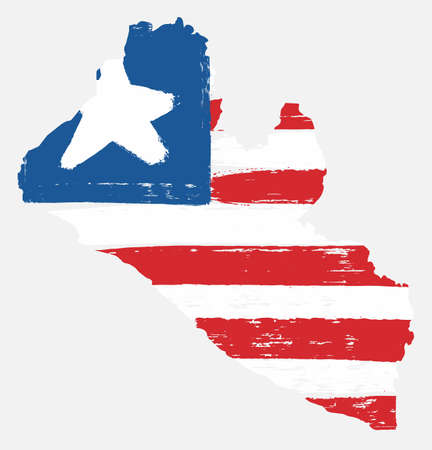 Liberia Flag & Map Vector Hand Painted with Rounded Brush Illustration