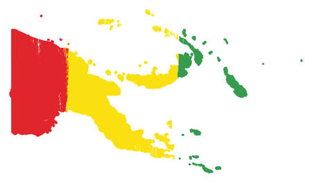 Guinea Flag & Map Vector Hand Painted with Rounded Brush