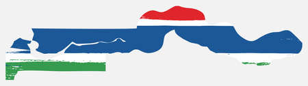 Gambia Flag & Map Vector Hand Painted with Rounded Brush
