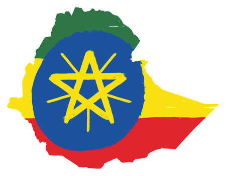 Ethiopia Flag & Map Vector Hand Painted with Rounded Brush