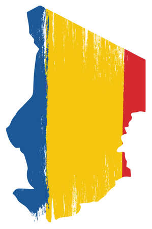 Chad Flag & Map Vector Hand Painted with Rounded Brush