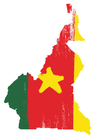Cameroon Flag & Map Vector Hand Painted with Rounded Brush Illustration