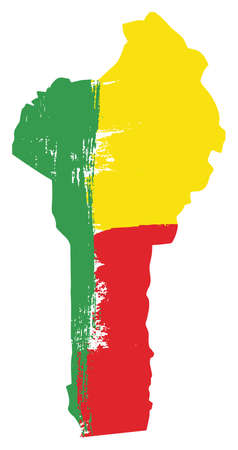 Benin Flag & Map Vector Hand Painted with Rounded Brush