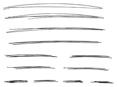 Pen Strokes Thin Line & Background Set 08 Ilustração