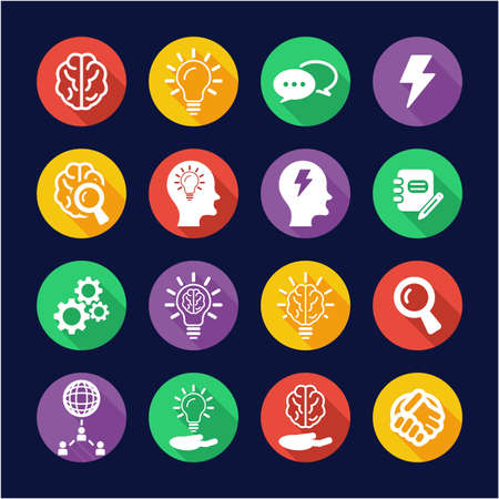 Brainstorming or Idea Icons Flat Design Circle