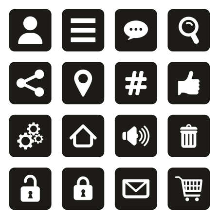 App Menu Icons White On Black Vettoriali