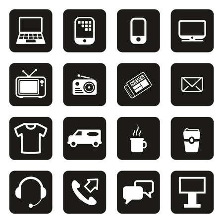Advertising Media Icons White On Black