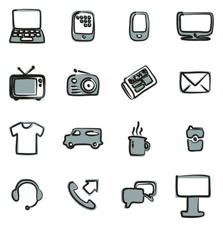 Advertising Media Icons Freehand 2 Color
