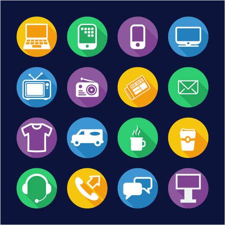 Advertising Media Icons Flat Design Circle