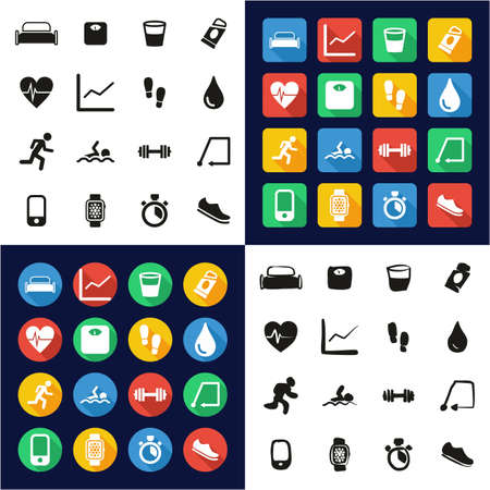 Activity Tracker Icons All in One Icons Black & White Color Flat Design Freehand Set Illustration