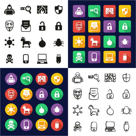 Hacker Icons All in One Icons Black & White Color Flat Design Freehand Set