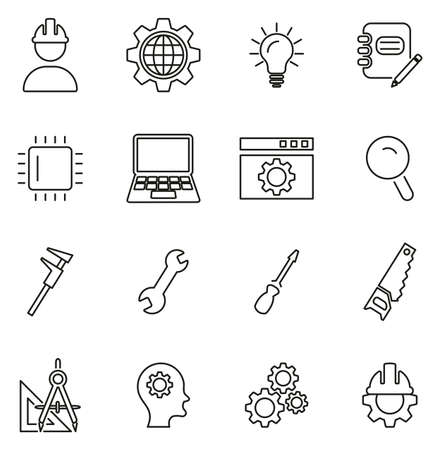 Engineering Icons Thin Line Vector Illustration Set