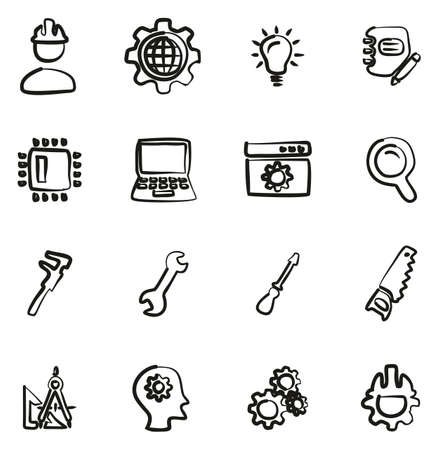 Engineering Icons Freehand Stock Illustratie