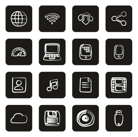 Download Icons Freehand White On Black