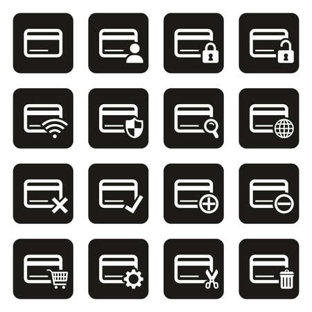 Credit Card Icons White On Black