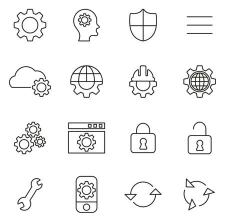 Settings Icons Thin Line Vector Illustration Set Stock Illustratie