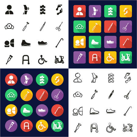 Orthopedic Icons All in One Icons Black & White Color Flat Design Freehand Set