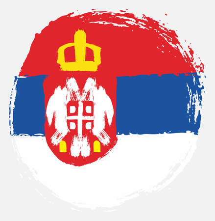 Serbia Circle Flag Vector Hand Painted with Rounded Brush