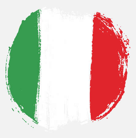 Italy Circle Flag Vector Hand Painted with Rounded Brush