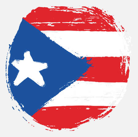 Puerto Rico Circle Flag Vector Hand Painted with Rounded Brush Illustration
