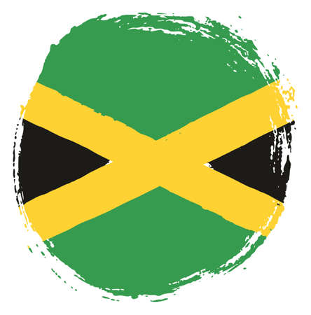 Jamaica Circle Flag Vector Hand Painted with Rounded Brush
