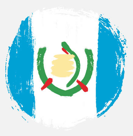 Guatemala Circle Flag Vector Hand Painted with Rounded Brush Vetores