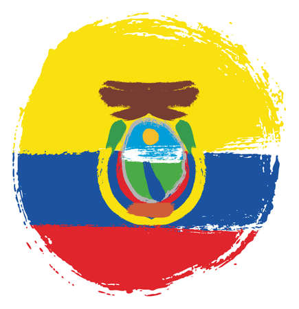 Ecuador Circle Flag Vector Hand Painted with Rounded Brush 矢量图像