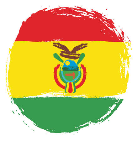 Bolivia Circle Flag Vector Hand Painted with Rounded Brush