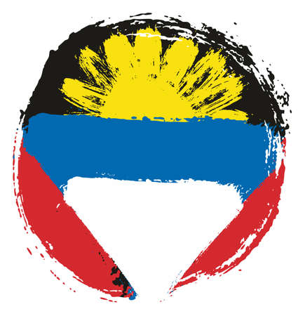 Antigua and Barbuda Circle Flag Vector Hand Painted with Rounded Brush Illustration