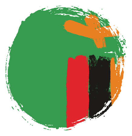Zambia Circle Flag Vector Hand Painted with Rounded Brush