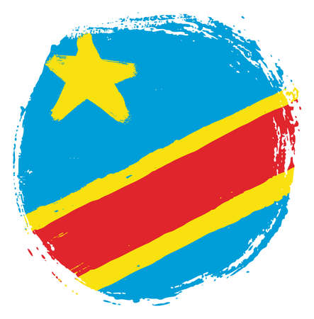 Democratic Republic of the Congo Circle Flag Vector Hand Painted with Rounded Brush